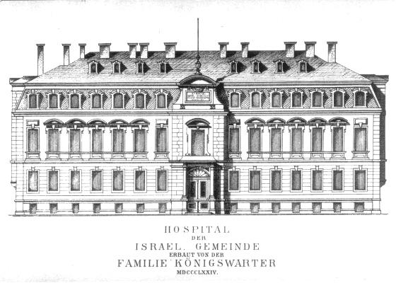 Zeichnung: Hospital der Israelitischen Gemeinde / Frontansicht des Gebäudes in Frankfurt am Main, Grüner Weg 26, 1874
