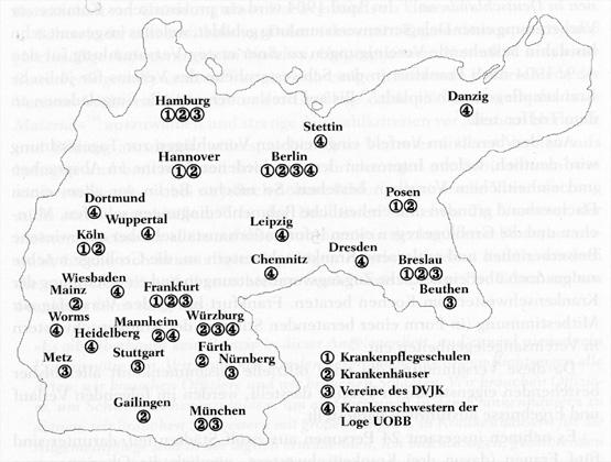 Zeichnung: Standortkarte / Institutionen und Organisationen der jüdischen Krankenpflege im Deutschen Reich 1914.