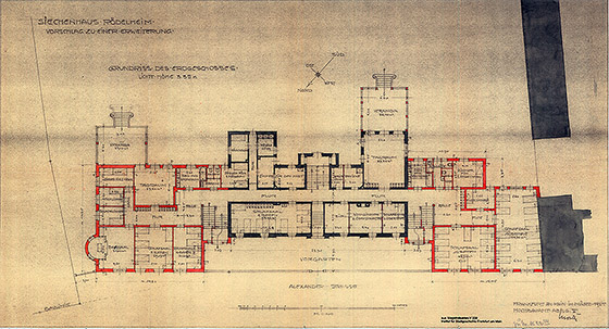 Zeichnung: Ein Grundriss aus der Planungsphase des Hauses im Jahr 1925.