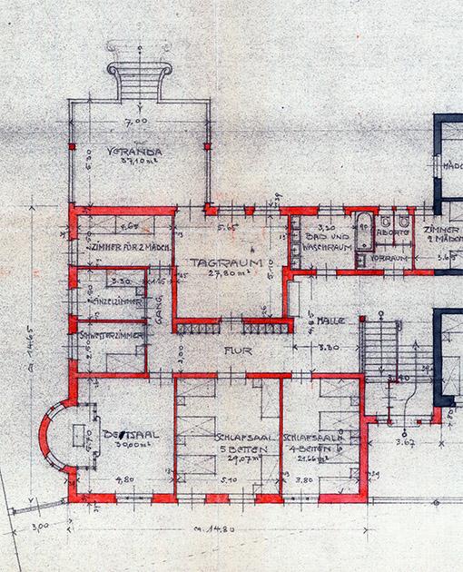 Zeichnung: Ausschnitt des Grundrisses von 1925.