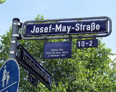 Photography: Street sign in Roedelheim in memory of Joseph and Hannchen May.