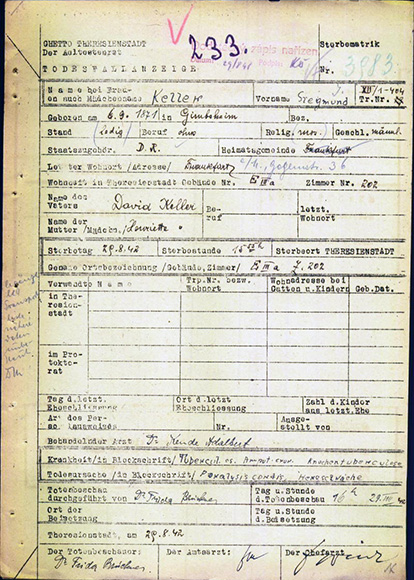 Document: Keller, Siegmund / Death announcement, Ghetto at Theresienstadt, Aug. 29, 1942.