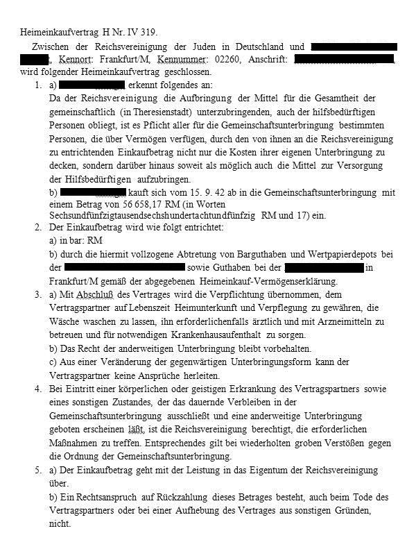 Dokument: Heimeinkaufsvertrag / Muster eines Heimeinkaufsvertrags für Theresienstadt Kommission zur Erforschung der Geschichte der Frankfurter Juden: Dokumente.