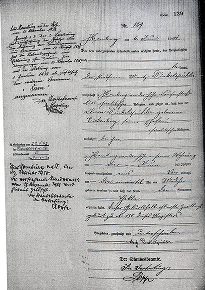 Document: Thekla Dinkelspuehler Birth certificate.