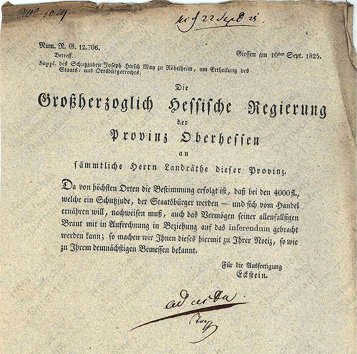 Document: Supplication of the protected Jew Joseph Hirsch May in Rödelheim to be granted citizienship.