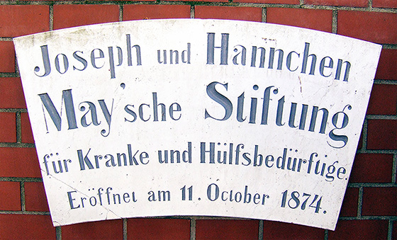 Sign bearing the name of the old hospital of the Joseph and Hannchen May'schen Stitung in Roedelheim.