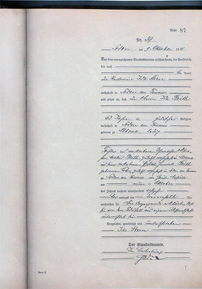 Dokument: Sterbeurkunde von Ida Beith, der ersten Oberin der Israelitischen Kuranstalt zu Bad Soden