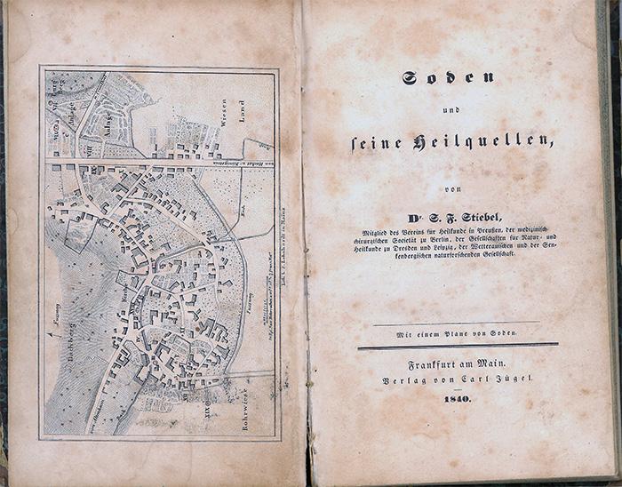 Buchseite: Frühe Publikation des Frankfurter und Bad Sodener Arztes Dr. Salomo Friedrich Stiebel über die Sodener Heilquellen, 1840