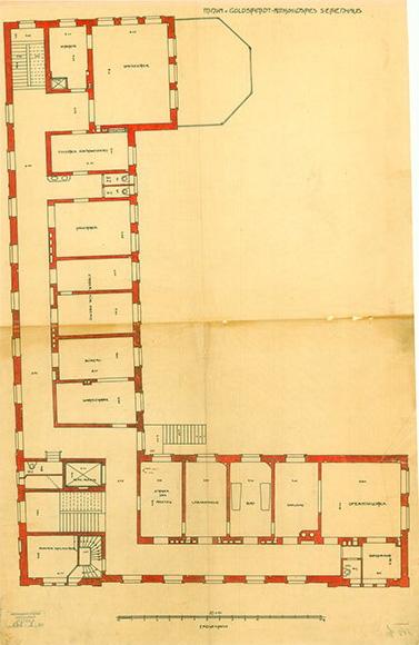 """Dokument: Grundriss Villa """"Rothschild'sches Siechenhaus""""."""