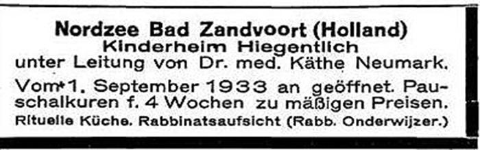 Zeitungsinserat: Anzeige der Kinderpension Dr. Käthe Neumark (Zandvoort, Niederlande).