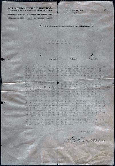 Dokument: Wolff, Juliane / Juliane Wolff, Zeugnis des Rothschild'schen Hospitals, ausgestellt am 07.12.1939 von Dr. Sally Rosenbaum