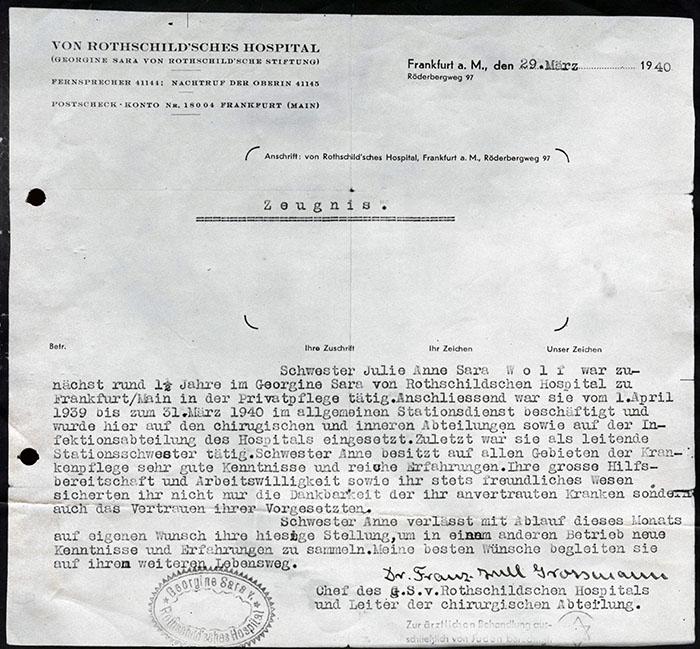 Dokument: Wolff, Juliane / Juliane Wolff, Zeugnis des Rothschild'schen Hospitals, ausgestellt am 29.03.1940 durch Dr. Franz Grossmann