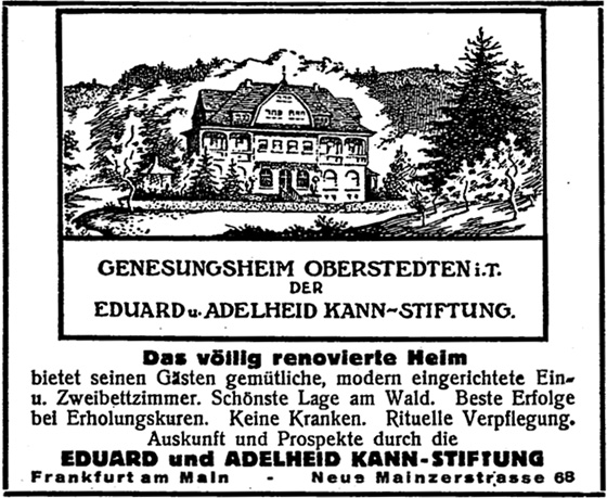 Anzeige: Genesunsheim der Kann-Stiftung, Werbeanzeige Juli 1933.