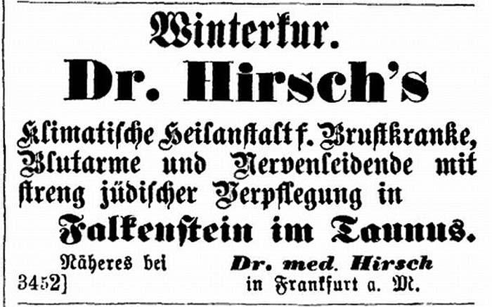 Anzeige von Dr. Hirsch's Kurklinik zu Falkenstein im Taunus, 1879