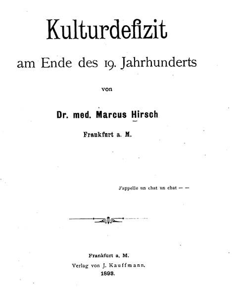 Deckblatt: Marcus Hirsch, Kulturdefizit am Ende des 19. Jahrhunderts.