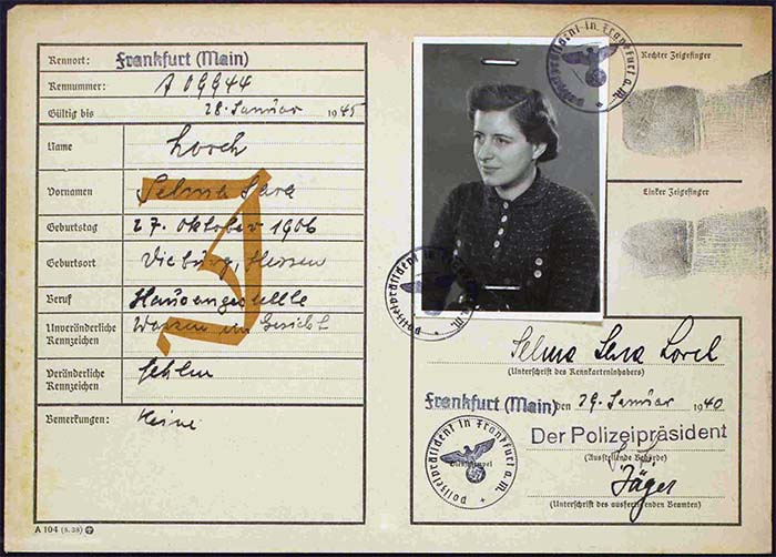 Selma Lorch, 1940, Kennkarte Nr. 606