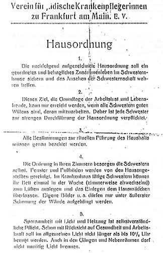 Dokument: Schwesternhaus des Vereins für jüdische Krankenpflegerinnen zu Frankfurt am Main / Hausordnung. Ohne Jahr.