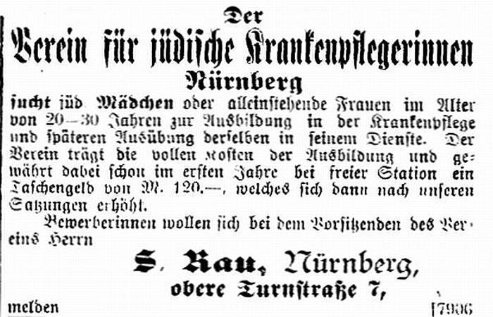 Anzeige: Verein für jüdische Krankenpflegerinnen Nürnberg - Annonce / Anzeige des Vereins für jüdische Krankenpflegerinnen zu Nürnberg.