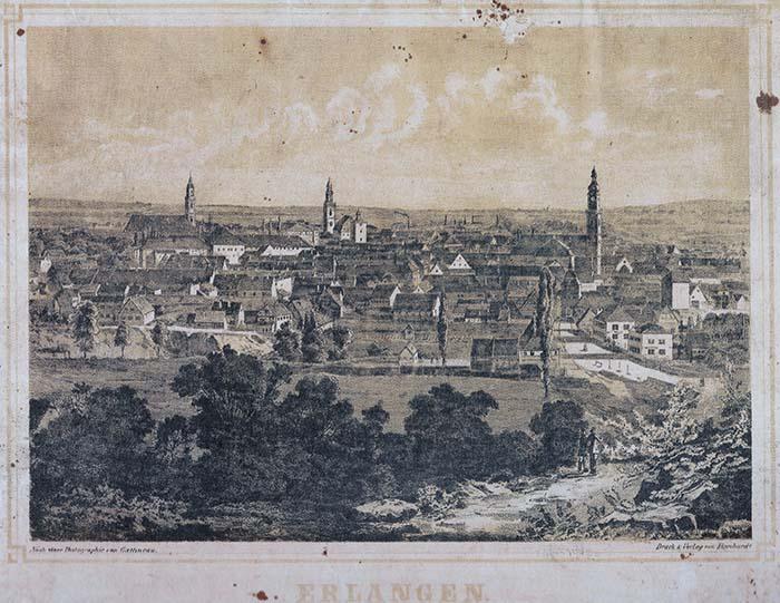 Stich: Oberin Frieda (Brüll) Wollmann: Geburtsstadt Erlangen (Mittelfranken / Bayern), Blick vom Burgberg auf die Innenstadt, 1860