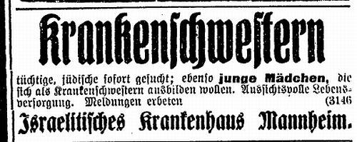 Anzeige: Israelitisches Krankenhaus Mannheim / Stellen- und Ausbildungsplatzanzeige des Israelitischen Krankenhauses Mannheim von 1922.