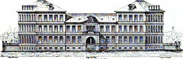 Zeichnung: Strassburg - Adassa / Israelitisches Krankenhaus Straßburg, Hagenauer Platz (Place de Haguenau), um 1894.
