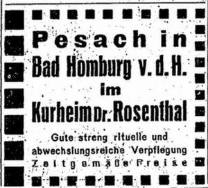 Sanatorium-Rosenthal-Anzeige